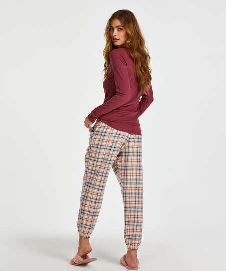 Langarm-Pyjamatop, Rot