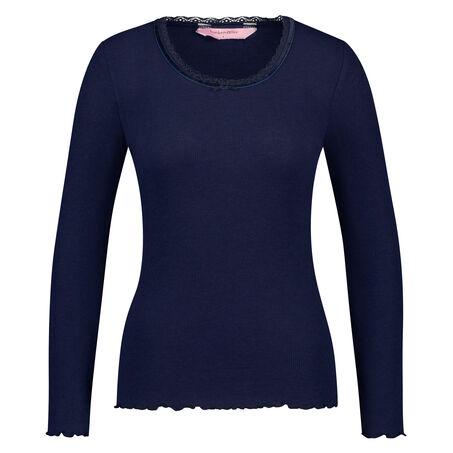 Langarm-Top, gerippt R-neck, Blau