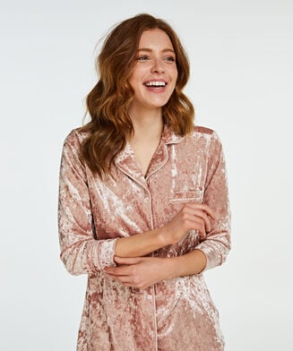 Boyfriend Pyjamas Crushed Velours, Rose