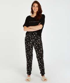 Pyjamatop langärmelig Jersey Sun, Schwarz