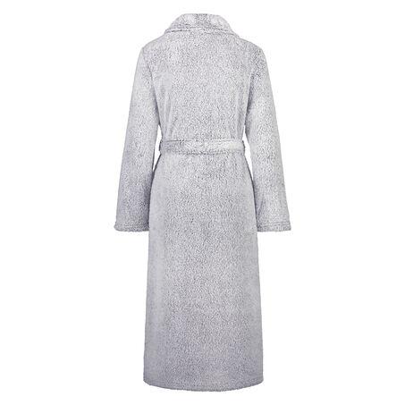 Fleece-Bademantel lang, Grau