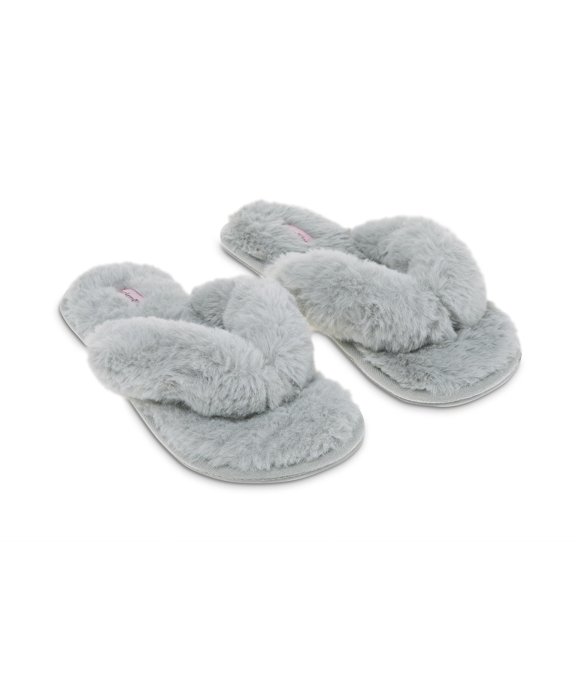 Hausschuhe Fake Fur, Grau, main