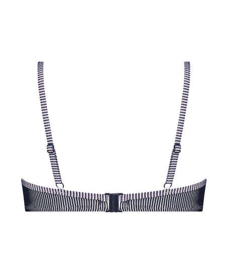 Vorgeformtes Bügel-Bikini-Top Ruffle Stripe, Blau