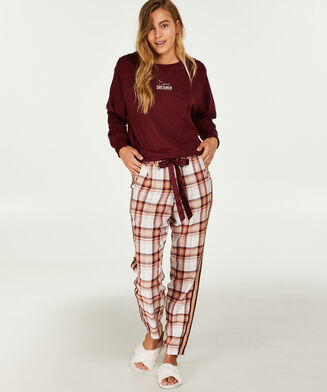 Pyjamahose kariert, Rot