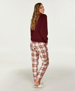 Pyjama-Oberteil mit langen Ärmeln, weit geschnitten, Rot