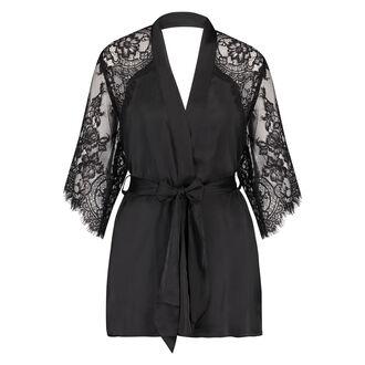 Kimono Flared Satin Lace, Schwarz