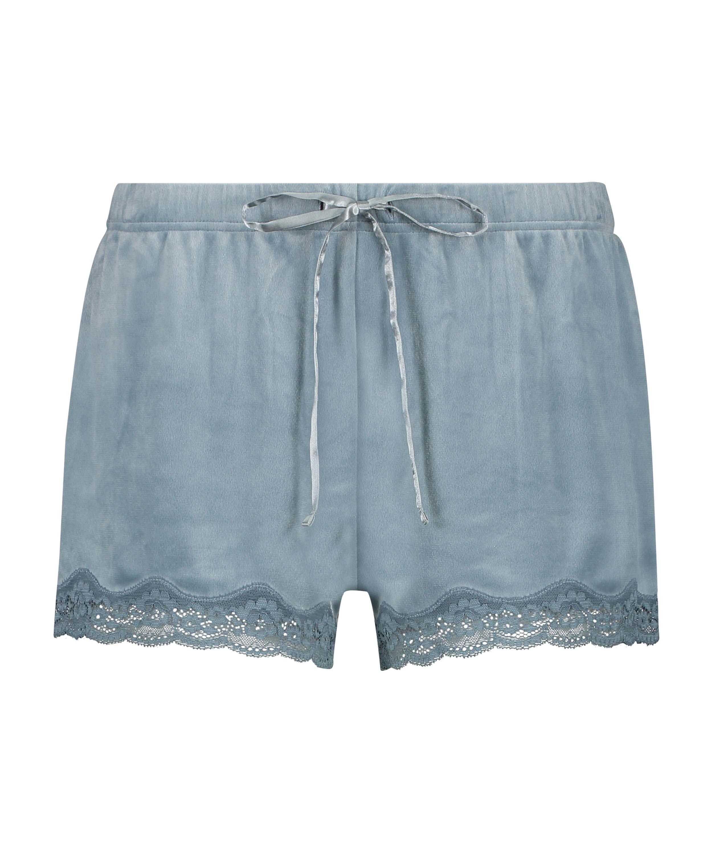 Shorts aus Velours mit Spitze, Blau, main