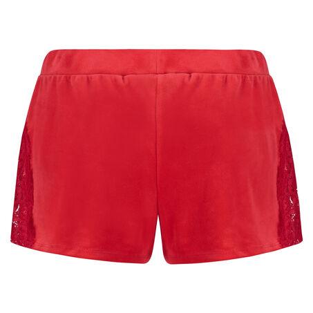 Pyjama Shorts Velours, Rot