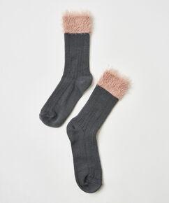 1 Paar flauschige Socken, Grau