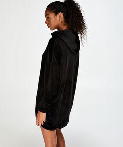 Bademantel-Kleid aus Velours, Schwarz