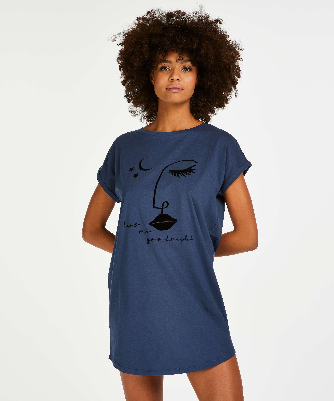 Nachthemd Rundhals, Blau, main