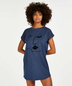 Nachthemd Rundhals, Blau