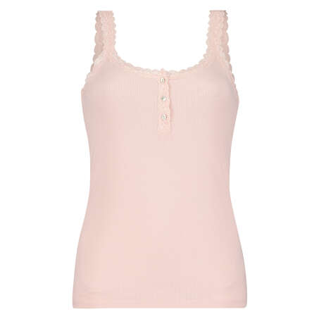 Singlet top cami rib lace, Rose