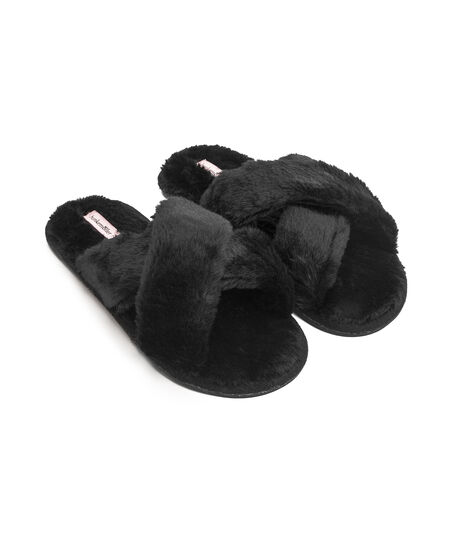 Cross Straps Indoor Sandal, Schwarz