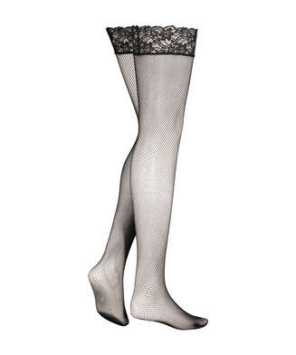 Stockings Fishnet Lacetop, Schwarz