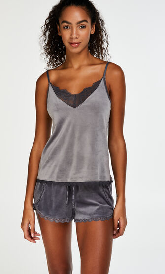 Shorts Velours Lace, Grau