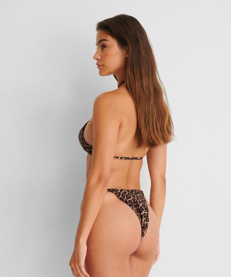 Hoch geschnittener String-Bikini-Slip Animal HKM x NA-KD, Braun