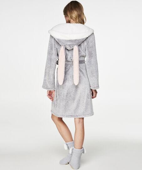 Bademantel Fleece, Grau