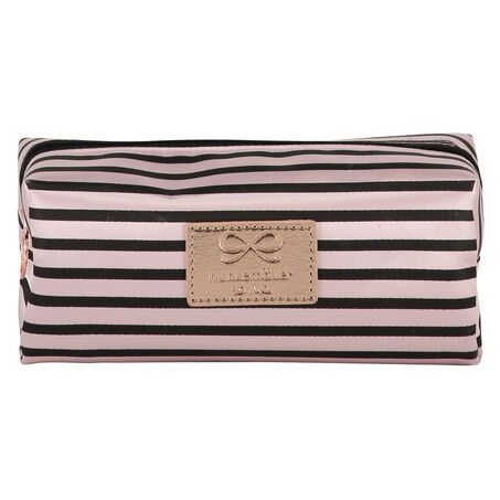 Make-up Bag Stripe Satin, Rose