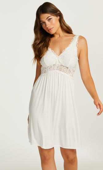 Slipdress Modal Lace mit Spitze, Weiß