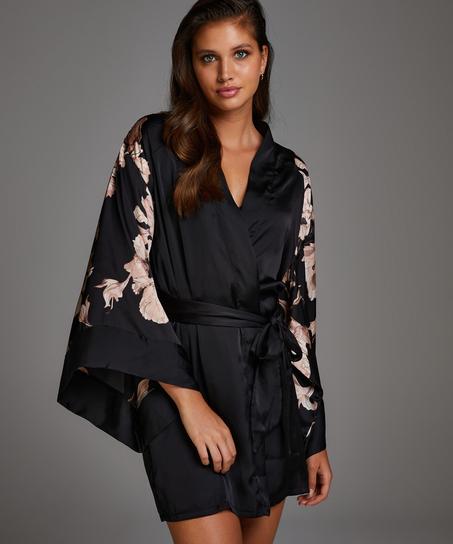 Kimono Satinblüte, Schwarz