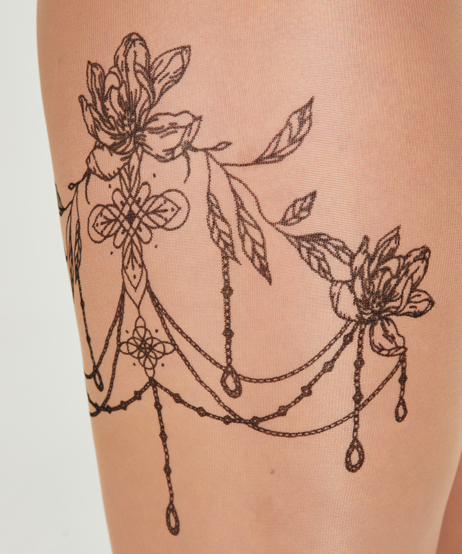 Strumpfhose 15 Denier Leg Tattoos, Beige, main