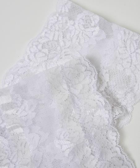 Oberschenkelband aus Spitze, Weiß