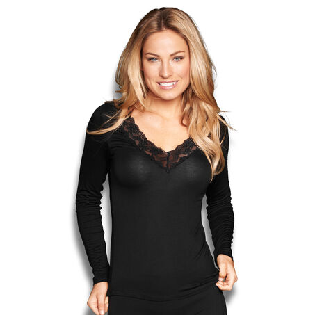 Top v-neck lace, Schwarz