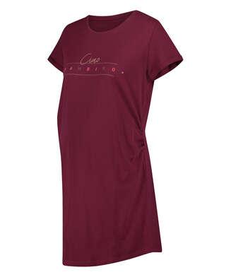 Umstandsnachthemd mit kurzen Ärmeln, Rot