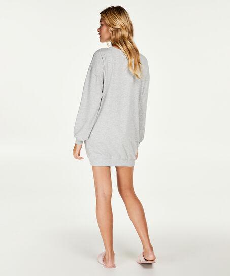 Nachthemd mit langen Ärmeln, Grau