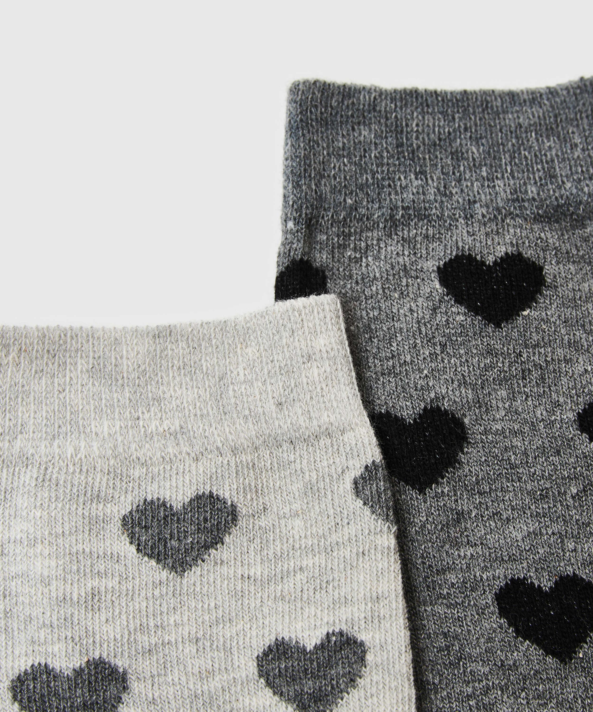 2 Paar Baumwollsocken, Grau, main