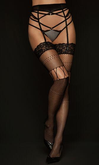 Stockings Fishnet Open Thigh, Schwarz