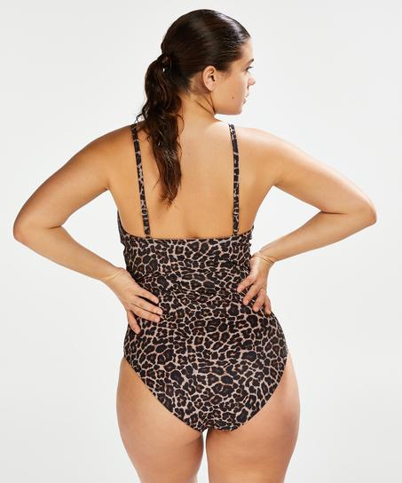 Badeanzug Leopard, Beige