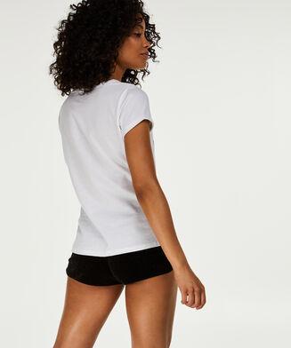 Kurzarm-Pyjamatop, Weiß