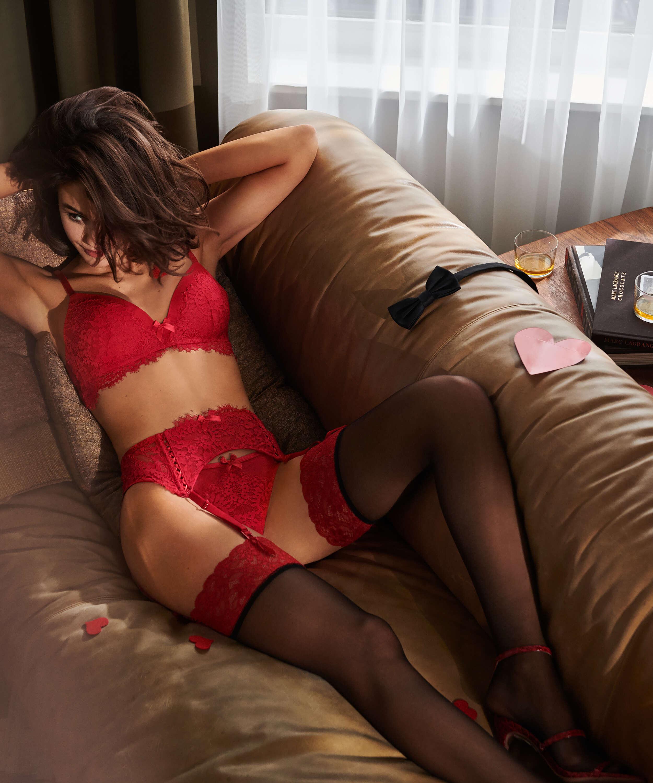 Stockings 15 Denier Fancy Lace Top, Rot, main