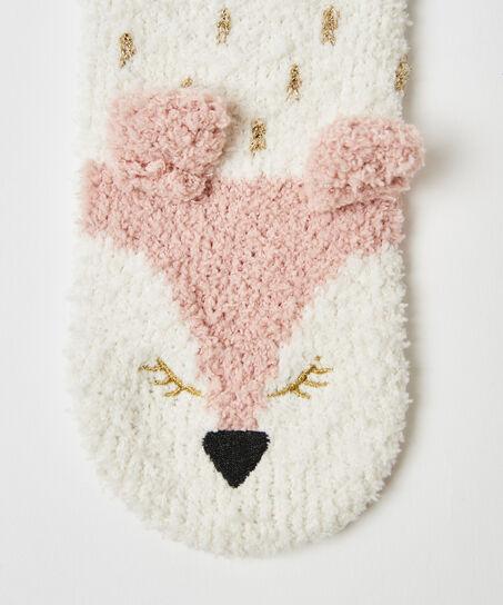 Kuschelsocken Fuchs, Weiß