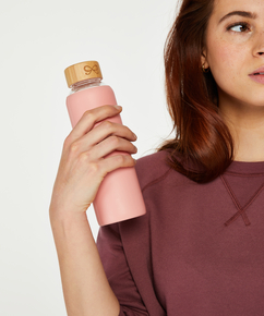 Wasserflasche aus Glas, Rosa