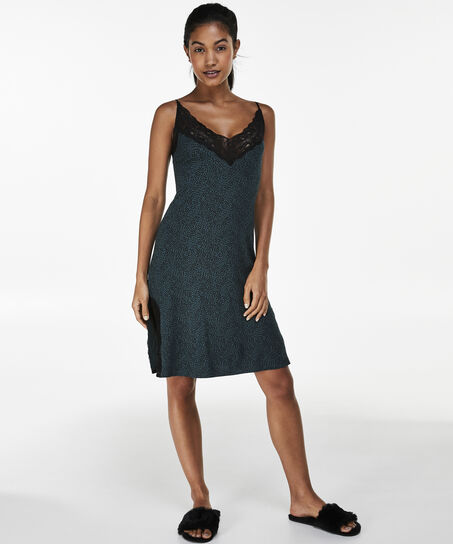 Jersey lace slipdress, grün