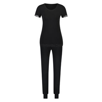 Pyjamaset Jersey Lace, Schwarz