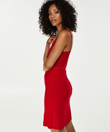 Slipdress Modal Lace, Rot