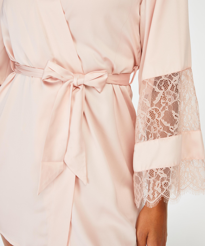 Kimono aus Satin und Spitze, Rosa, main