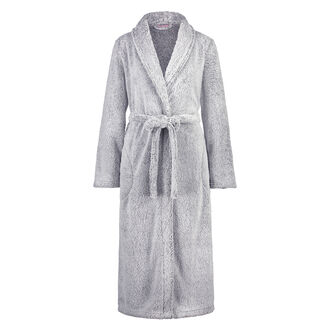Fleece-Bademantel lang, Grau