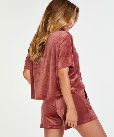 Top Velours Pocket, Rosa
