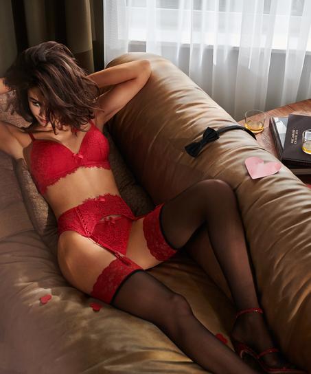 Stockings 15 Denier Fancy Lace Top, Rot