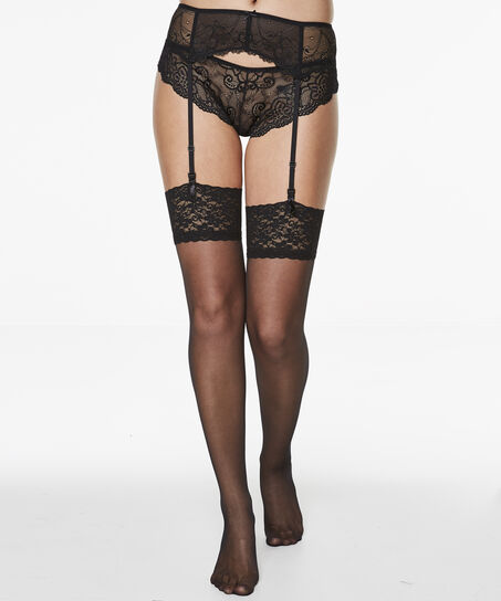 Stockings 15 Denier Lace, Schwarz