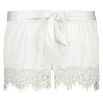Pyjamashorts Satin Lace Bridal, Weiß