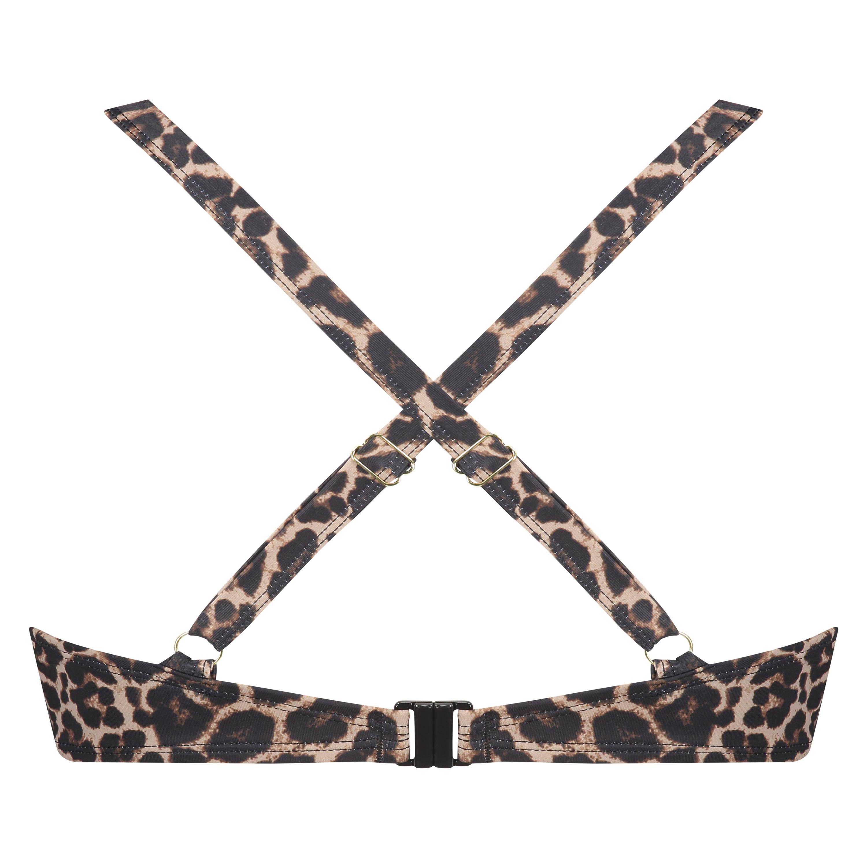 Vorgeformtes Bügel-Bikinitop Leopard, Beige, main