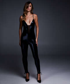 Catsuit Mesh Lace-up, Schwarz
