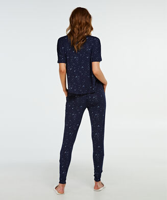Kurzarm-Pyjamatop Loose Fit, Blau