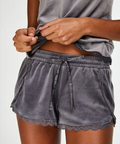 Shorts Velours Lace, Grau